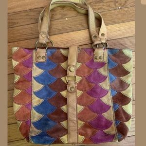 Lucky Brand Fish Scale Multicolor Patchwork Tote